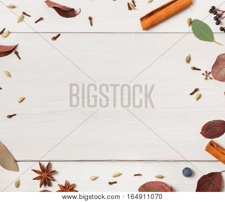 Various spices for mulled wine background. Frame made of herbs and condiments as cinnamon, cardamom, clove, anise and sloe. Top view of cooking ingredients on white wood, flat lay, copy space