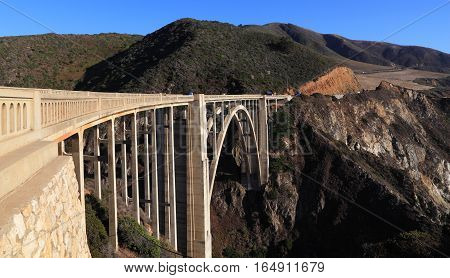 Historic Bixby Bridge located along State Route 1 on the Big Sur coast of California.