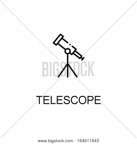Telescope flat icon. Single high quality outline symbol of education for web design or mobile app. Thin line signs of Telescope for design logo, visit card, etc. Outline pictogram of Telescope