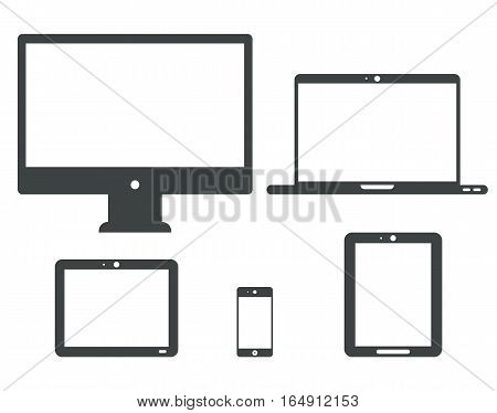 Vector set of Tablet laptop device isolated on white