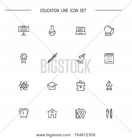 Education flat icon set set. Collection of high quality outline symbols of education for web design, mobile app. Vector thin line icons or logo of board, microscope, book, pen, atom, pencil, ruler.