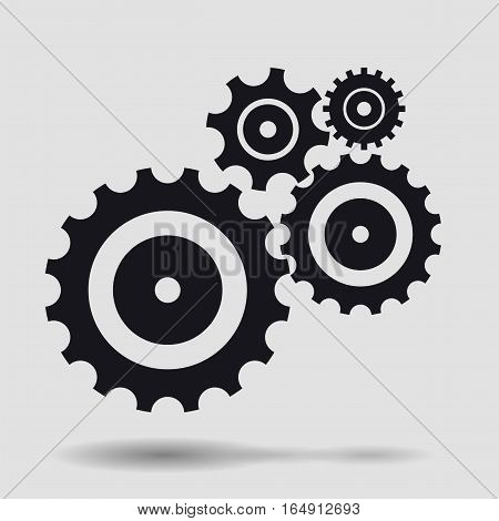 Composition with black gears, cogs and and wheels