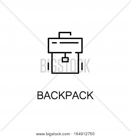 Backpack flat icon. Single high quality outline symbol of education for web design or mobile app. Thin line signs of Backpack for design logo, visit card, etc. Outline pictogram of Backpack