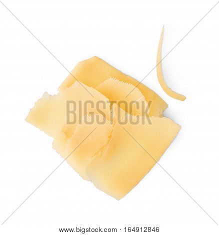 Cheddar cheese slices isolated on white background. Closeup of italian classic cuisine ingredient, healthy food