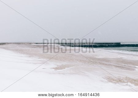 Beach During A Blizzard And Snowfall, Minimalist Landscape