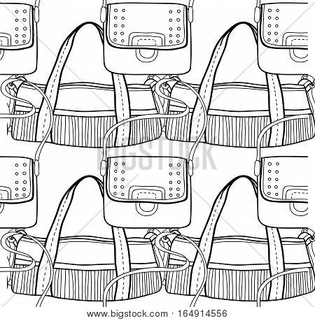 Black and white seamless pattern with fashion bags for coloring book, pages