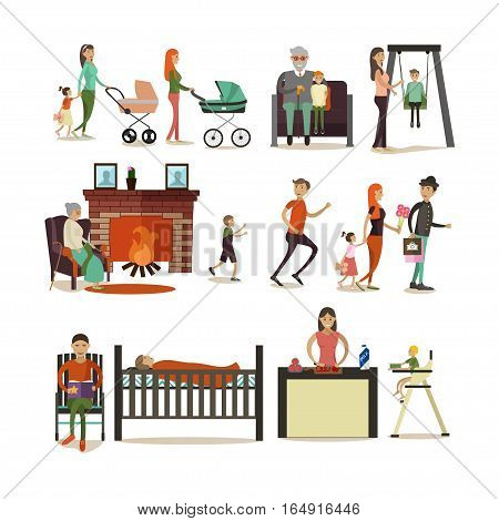 Vector set of family concept design elements, icons in flat style. Father, mother, grandfather, grandmother, children cartoon characters isolated on white background.