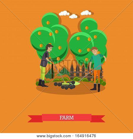 Farm concept vector illustration in flat style. Gardeners men tilling, digging soil with garden tools.