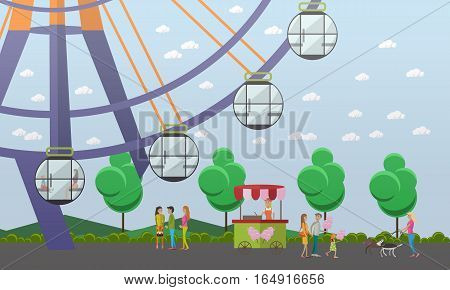 Vector illustration of amusement park concept design element with ferris wheel attraction, cotton candy trolley, salesgirl and walking people. Cartoon characters, flat style.