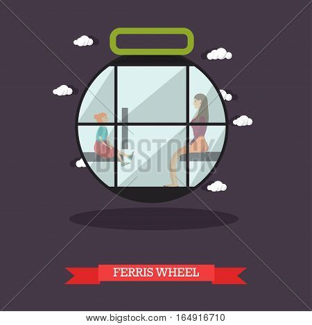 Vector illustration of ferris wheel attraction. Cartoon characters mother with daughter. Amusement park concept design element in flat style.