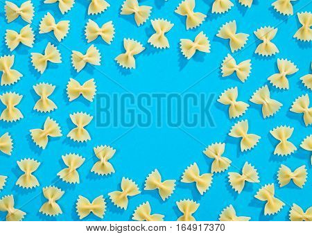Frame From Wheat Pasta On Blue Background
