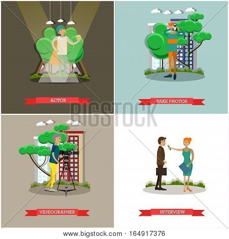 Vector set of photo and video concept posters, banners. Actor, Take photos, Videographer, Interview design elements in flat style.
