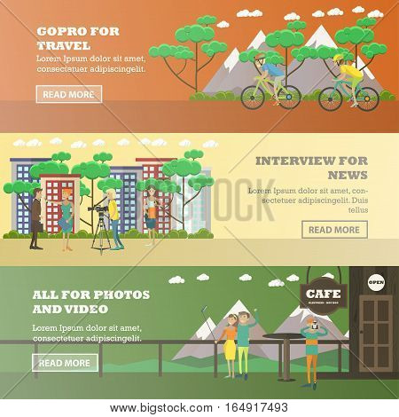 Vector set of photo, video equipment for media, travel concept horizontal banners. GoPro for travel, Interview for news, All for photos and video design elements in flat style.