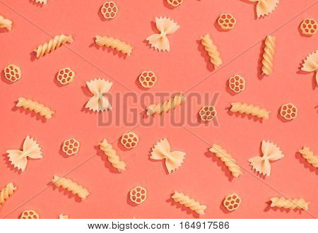 Farfalle, Rotelle And Fusilli Pasta Flat Lay