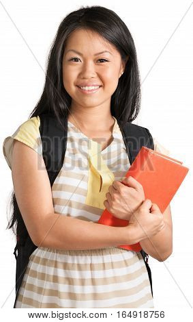Portrait of a Female Student with Backpack and Textbooks