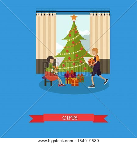 Vector illustration of happy children with gifts which they have found under christmas tree with decorations. Home interior. Merry Christmas and Happy New Year design element in flat style.