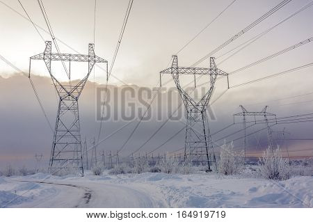 Hight voltage power transmission tower. Power supply and energetics concept. Toned.