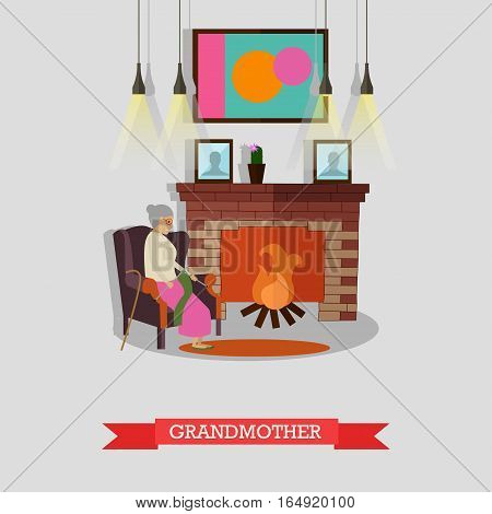 Vector illustration of grandmother sitting in armchair at fireplace. Family concept design element in flat style.