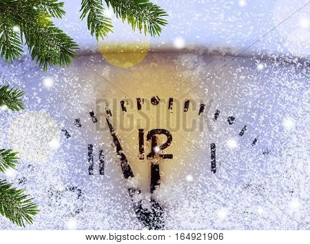Christmas Background With Clock
