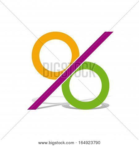 Vector sign abstract percentage, isolated illustration on white