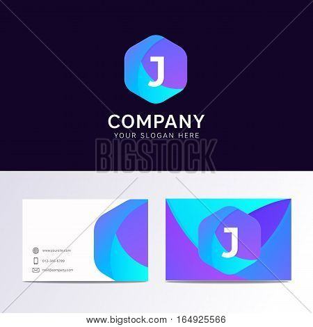 Abstract Flat J Letter Logo Iconic Sign With Company Business Card Vector Design