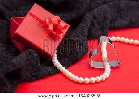 Red Gift, Grey Pearl Necklace, Metal Heart, Black Lace Underwear
