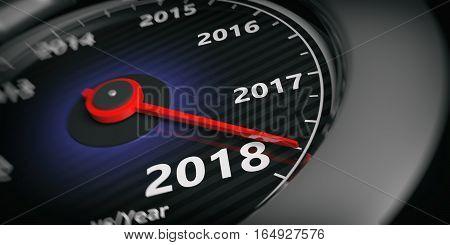 3D Rendering New Year 2018 Car Speedometer