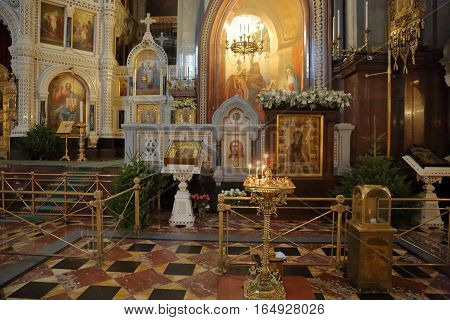 Interior Of The Cathedral Of Christ The Savior In Moscow
