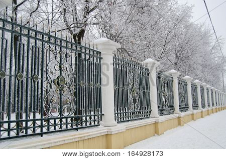 steel park fence powdered with frost taken from persperkivoy