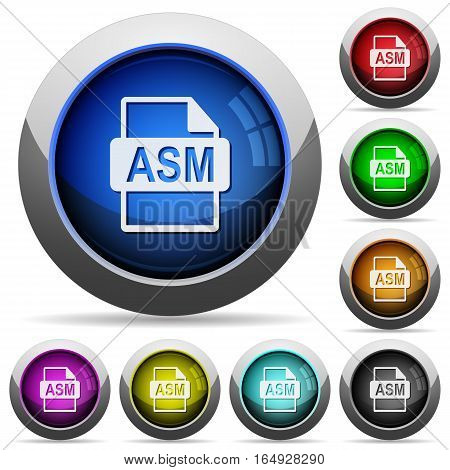 ASM file format icons in round glossy buttons with steel frames