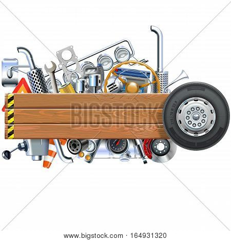 Vector Wooden Board with Truck Spares isolated on white background