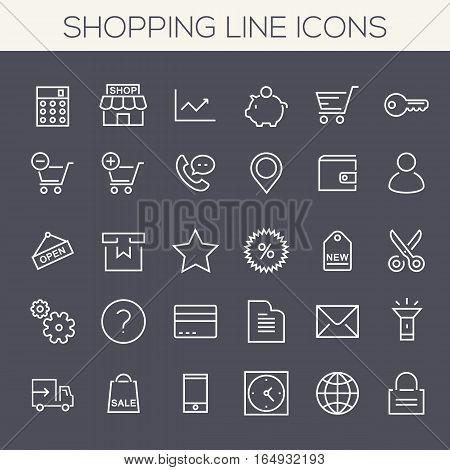 Trendy line icons - Online Shopping and E-commerce