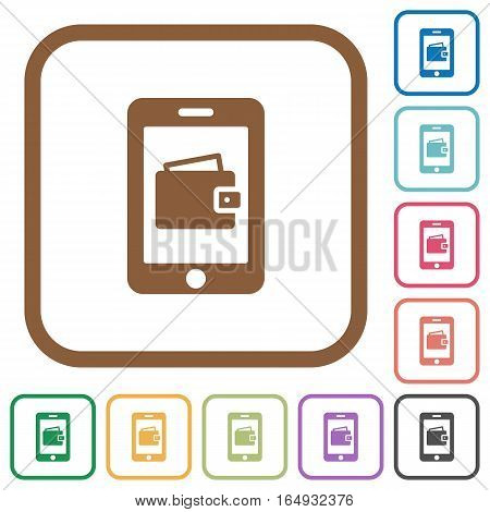 Mobile wallet simple icons in color rounded square frames on white background