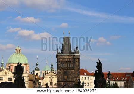 Skyline Of Prague With The Medieval Tower Of The Charles Bridge