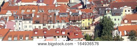Roofs With Many Red Tiles In A European Town