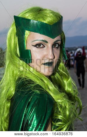 QUARTU S.E., ITALY - August 2, 2015: Beach Cosplay Party - costume parade held at the Marlin Club of Poetto Beach - Sardinia