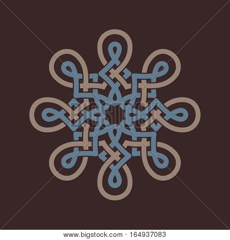 Round design element on brown background. Circle pattern in beige and blue color. Vector illustration. Could be used for logo tattoo monogram web-design decoration etc.