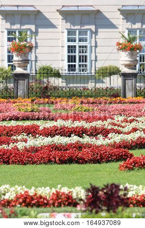 Garden With Many Flower Beds In A European Park