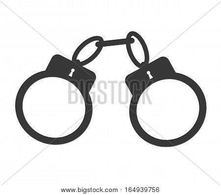 handcuffs, simple vector illusration, flat minimalistic symbol of arrest