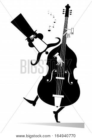 Double bass musician. Funny mustached man in the top hat performing music on double bass