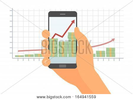 Human hand is keeping mobile phone. Profit or financial growth concept. A stack of money up arrow. Profit graph in flat style. Business success.