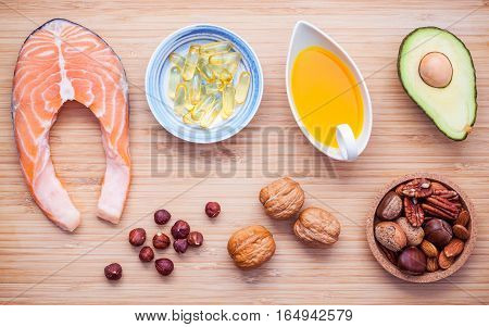 Selection Food Sources Of Omega 3 And Unsaturated Fats. Superfood High Vitamin E  For Healthy Food.