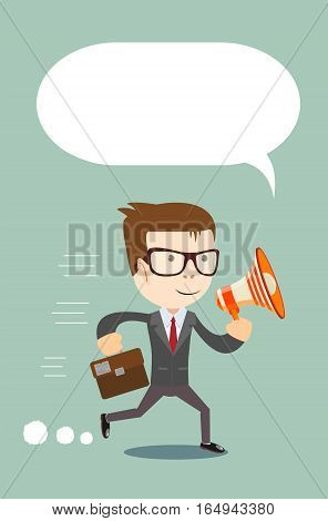 Boss, businessman or manager.A man in a suit shouting through a loudspeaker. Illustration, vector .