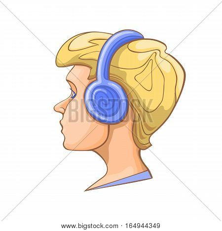 Boy listening to music on headphones. A blonde head in profile. Stock vector illustration.