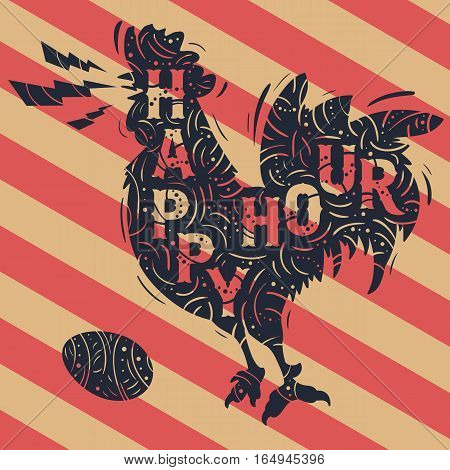 Happy Hour New Vintage Label With Crowing Rooster Drawing. Decorated Ornamental Silhouette Design. Custom Type Treatment. Vector Graphic.