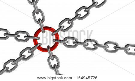 Chain Connection with Red Ring Element 3d Rendering