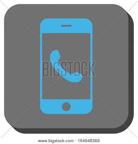 Cell Phone interface button. Vector pictograph style is a flat symbol inside a rounded square button blue and gray colors.