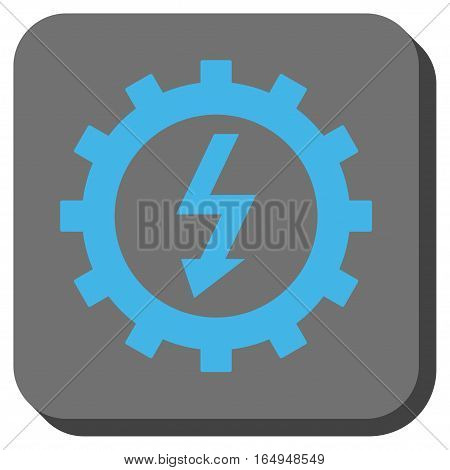 Electric Energy Cog Wheel square icon. Vector pictograph style is a flat symbol on a rounded square button blue and gray colors.