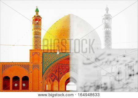 Iran, Kashan, Juma Friday mosque in the rays of the evening sun. Symmetry photo. Monochrome.