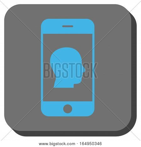 Smartphone Contact Human Portrait interface toolbar icon. Vector pictograph style is a flat symbol in a rounded square button blue and gray colors.
